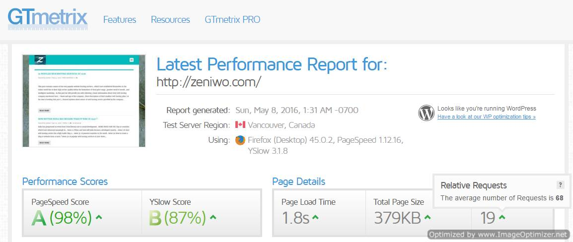 GTmetrix's website speed and performance test is very detailed