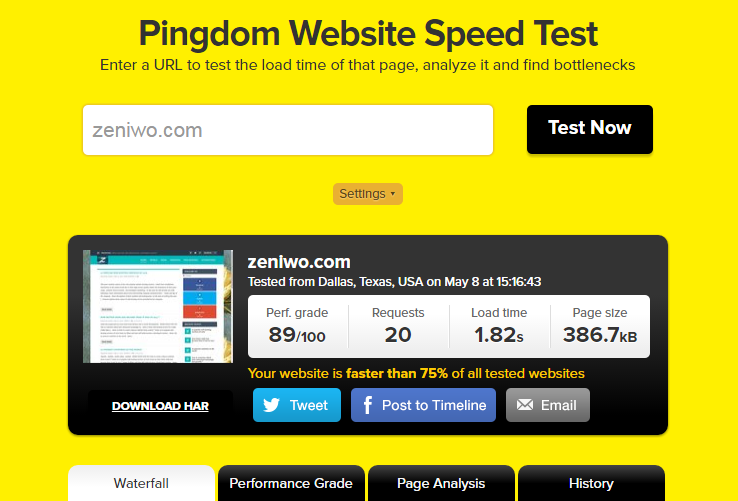 Pingdom provides simple and detailed reports of website speed and performance test