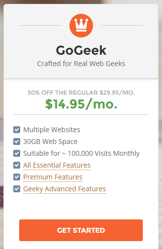 Siteground hosting review : GOGEEK Plan